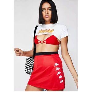 KAPPA Auth Jubblie Mini Skirt Logo Trim Faux Snap